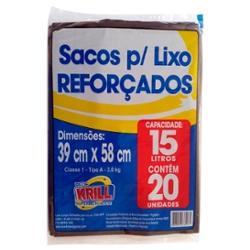 SACO LIXO REDE KRILL REFORCADO 15l C/20un