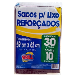 SACO LIXO REDE KRILL REFORCADO 30l C/10un