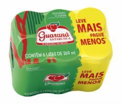 Pack com 6 Refrigerante Guaraná Antarctica 269ml Lata