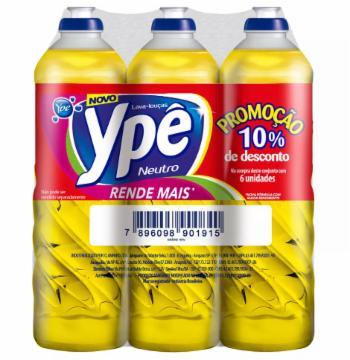 Pack com 6 Detergentes Ypê 500ml Neutro 10% de Desconto