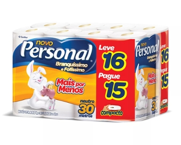Papel Higiênico Personal Folha Simples Leve 16 Pague 15 rolos 30m