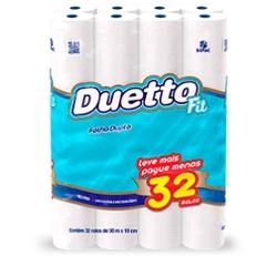 Papel Higiênico Duetto Folha Dupla com 32 rolos 30m