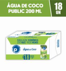 Água de Coco Public 200ml - Caixa com 18 unidades