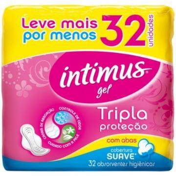 Absorvente Intimus Gel Tripla Proteção com 32 com abas Suave