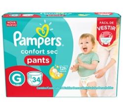 Fralda Pampers Pants Confort Sec Mega G com 34