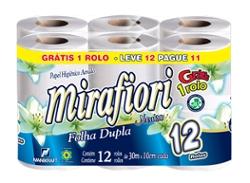 Papel Higiênico Mirafiori Folha Dupla Leve 12 Pague 11 rolos 30m