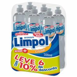 Pack com 6 Detergentes Limpol 500ml Cristal 10% de Desconto