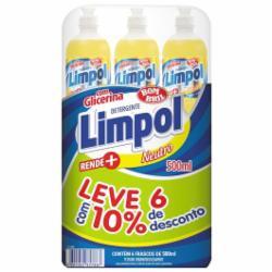 Pack com 6 Detergentes Limpol 500ml Neutro 10% de Desconto