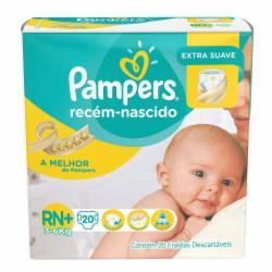Fralda Pampers Recém Nascido RN+ com 20