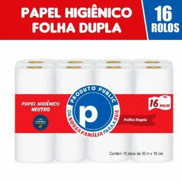 Papel Higiênico Public Folha Dupla 16 rolos 30m