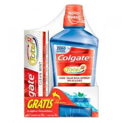 Enxaguante Bucal Colgate Total 12 Clean Mint 500ml grátis Creme Dental