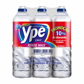 Pack com 6 Detergentes Ypê 500ml Clear 10% de Desconto