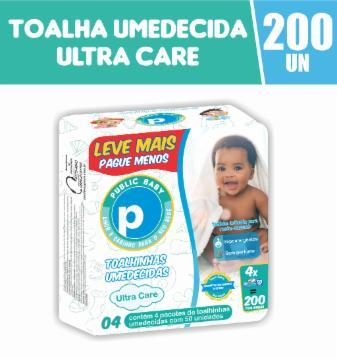 Toalhinhas Umedecidas Public Baby Ultra Care com 200 Leve Mais Pague Menos