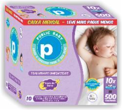Toalhinhas Umedecidas Public Baby Hora do Sono com 500 Caixa Mensal