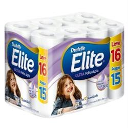 Papel Higiênico Elite Folha Dupla Leve 16 Pague 15 rolos 30m