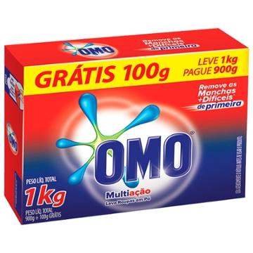 Lava Roupas Pó Omo 1Kg Multiação Leve 1Kg Grátis 100g