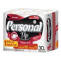 Papel Higiênico Personal Vip Folha Dupla Leve 12 Pague 11 rolos 30m