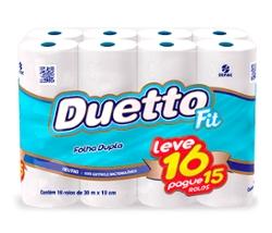 Papel Higiênico Duetto Folha Dupla Leve 16 Pague 15 rolos 30m