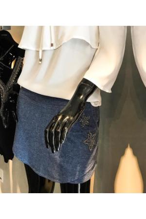 Shorts Saia Moletinho Bordado