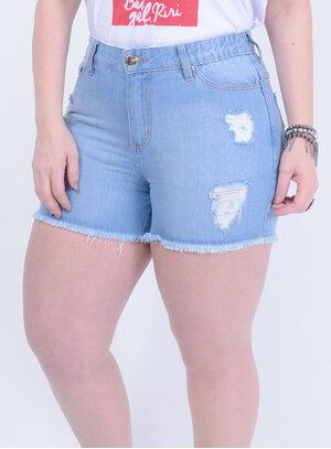 Short em Jeans com Elástico Destroyed Lavagem Delavê