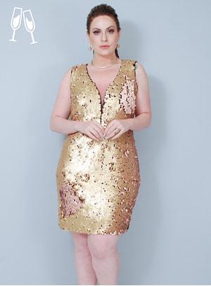 Vestido Tubinho Metalizado Paetê Dourado e Rosê