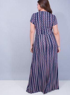 Vestido Longo em Malha com Decote Transpassado e Fendas