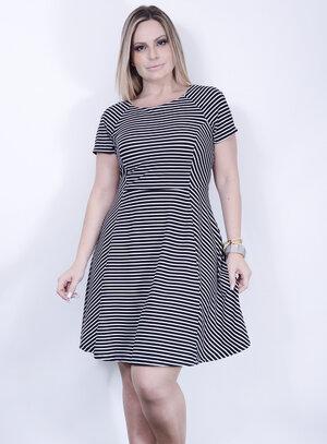 Vestido Evasê com Efeito Illusion Dress em Malha Listrado