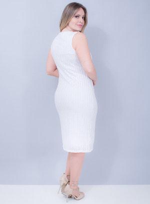 Vestido Tubinho em Lurex Branco com Prata