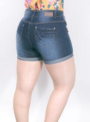 Short em Jeans com Elastano e Barra Dobrada