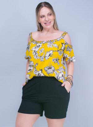 Blusa em Crepe Bordada e Estampa Floral