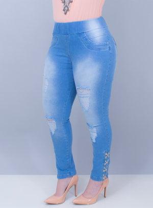 Jegging Jeans Delavê Ilhóses e Correntes na Barra