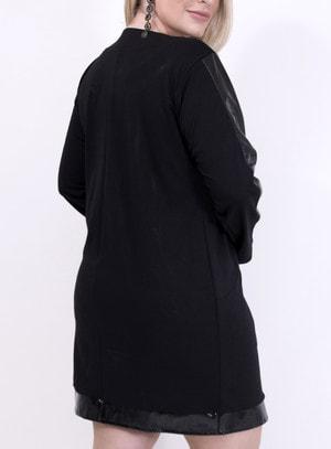 Vestido em Malha com Recortes em Pu Manga Longa e Bolsos