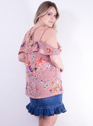 Blusa Ciganinha em Crepe com Alças Trançadas e Estampa de Listras e Flores