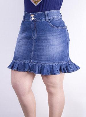 Saia em Jeans com Babados na Barra