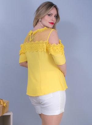 Blusa Ciganinha em Crepe com Tule e Guipir Amarela