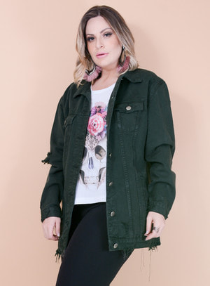 Jaqueta Jeans Oversized Destroyed Verde