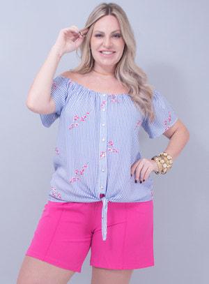 Blusa Ombro a Ombro em Viscose Estampa de Listras e Flores Azul