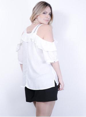 Blusa Ciganinha em Viscose Texturizada com aplicação de Galão