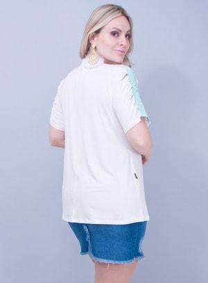 T-Shirt em Malha com Corino Recortado a Laser Off White