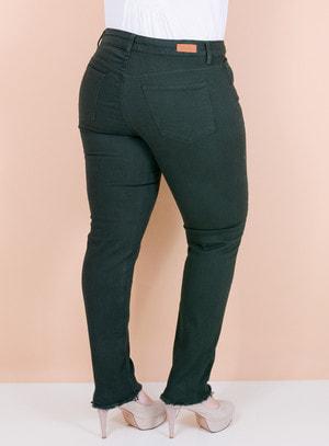 Calça Jeans Skinny Barra Desfiada Verde