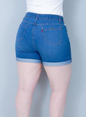 Short Jeans Rasgado com Elástico no Cós