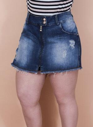 Short Saia Jeans Destroyed com Barra Desfiada Detalhe Frontal Zíper