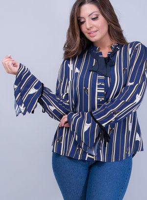 Camisa em Viscose Listrada com Rufo na Gola e Manga Flare
