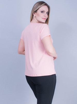 T-shirt em Malha com Coração em Paetê Dupla Face Rosa