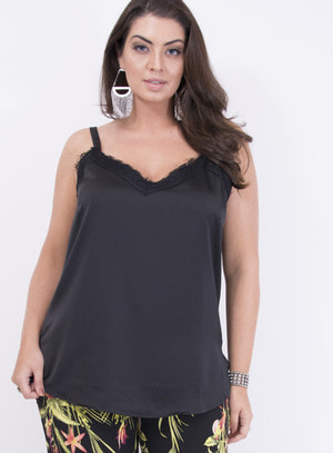 Regata Acetinada Slip Dress Preto