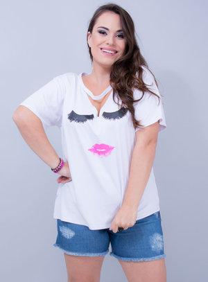 T-shirt em Malha Cílios e Boca Chocker Branca