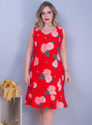 Vestido em Gabardine com Decote em V e Estampa Floral