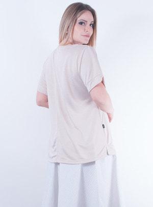 Blusa em Malha com Bordados Bege