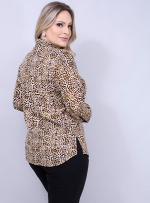Camisa em Chiffon com Amarração na Gola Animal Print
