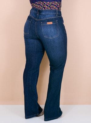 Calça Jeans Flare Básica Pesponto Bege